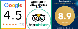 Notes: Google 4,5/5; TripAdvisor Attestation d'Excellence; Booking 8,9/10 (Mars/2019)
